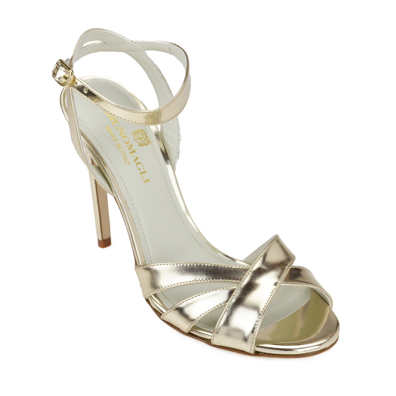 Ginerva Mirror Leather Strappy Sandal - Gold