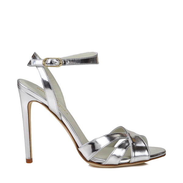 Ginerva Mirror Leather Strappy Sandal - Platino