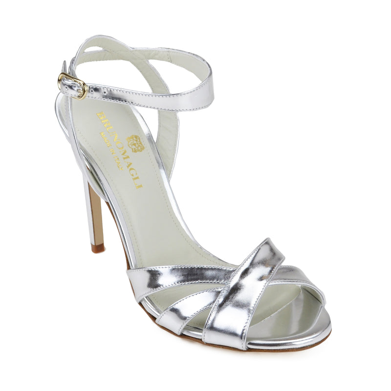Ginerva Mirror Leather Strappy Sandal - Platino - FINAL SALE
