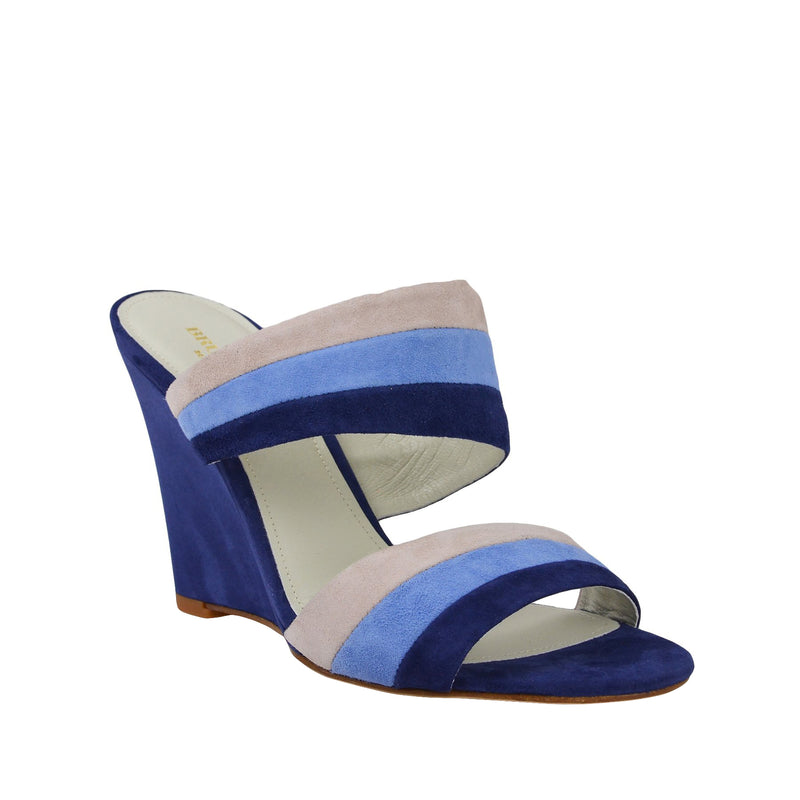Kira Suede Slip-On Wedge Sandal - Blue Combo - FINAL SALE