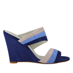 Kira Suede Slip-On Wedge Sandal - Blue Combo