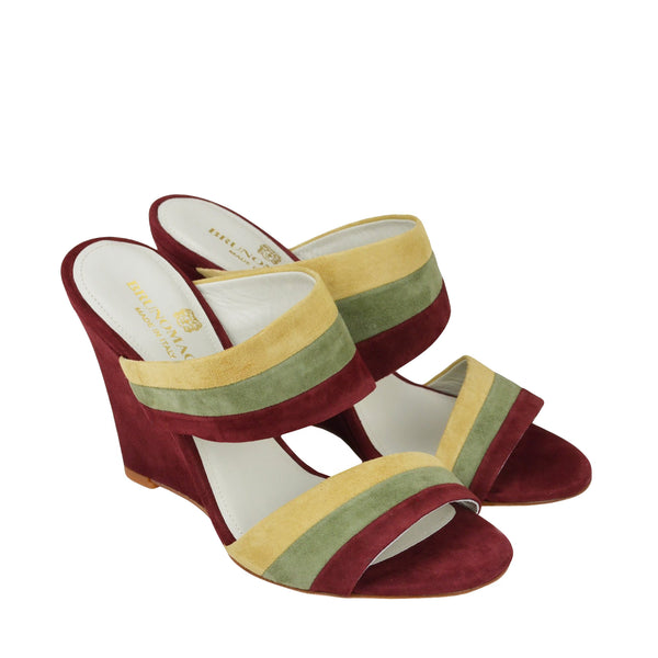 Kira Suede Slip-On Wedge Sandal - Spice Combo - FINAL SALE