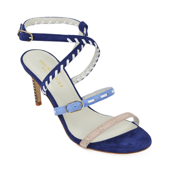 Marika Suede Strappy Sandal - Blue Combo - FINAL SALE