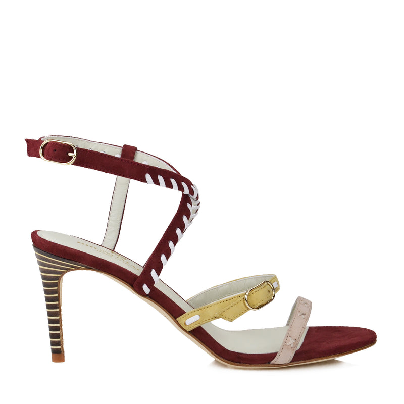Marika Suede Strappy Sandal - Rust Combo