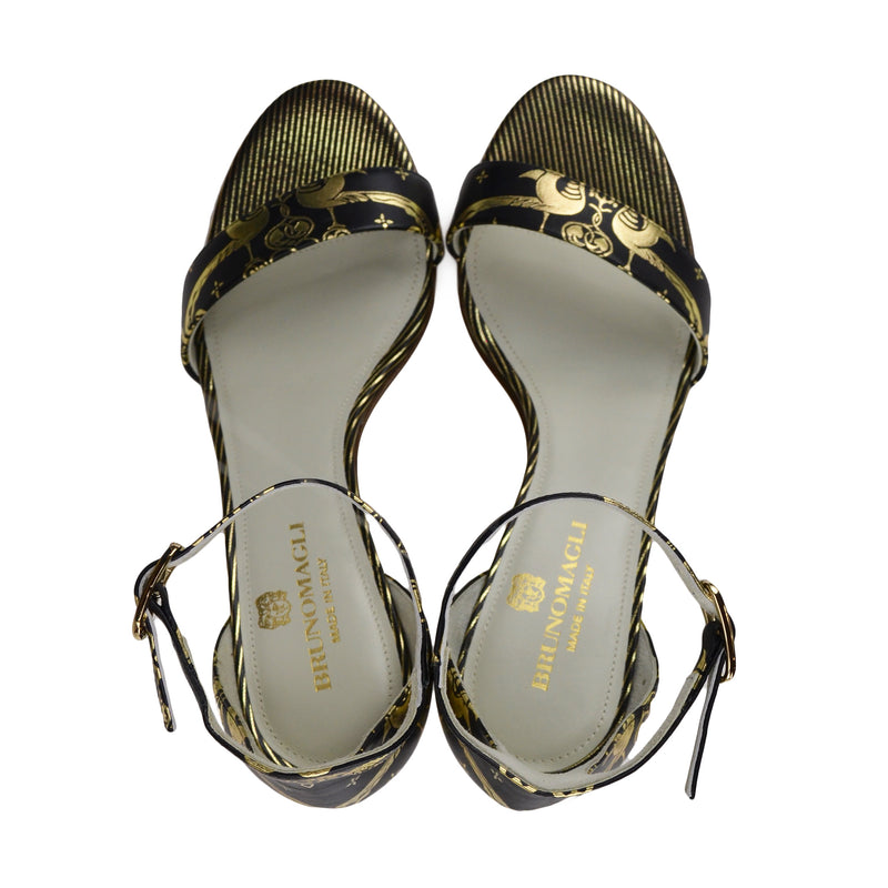 Marta Printed Strappy Sandal - Black Birds