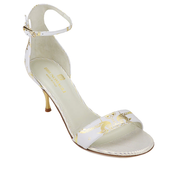 Marta Printed Strappy Sandal - White Birds