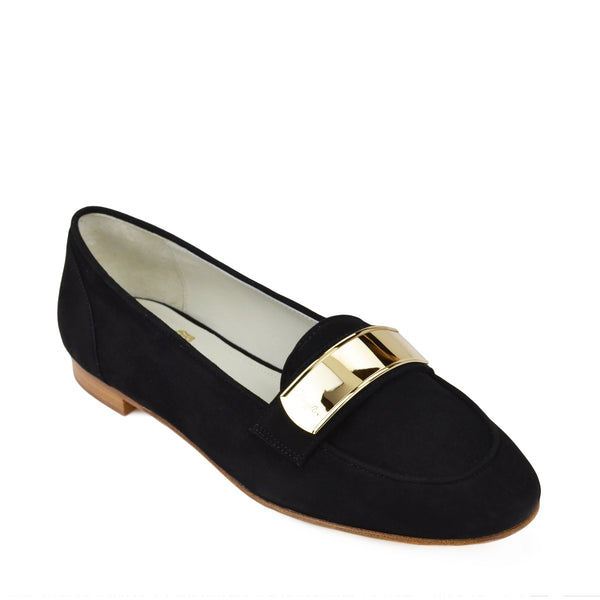 Simone Suede Loafer - Black