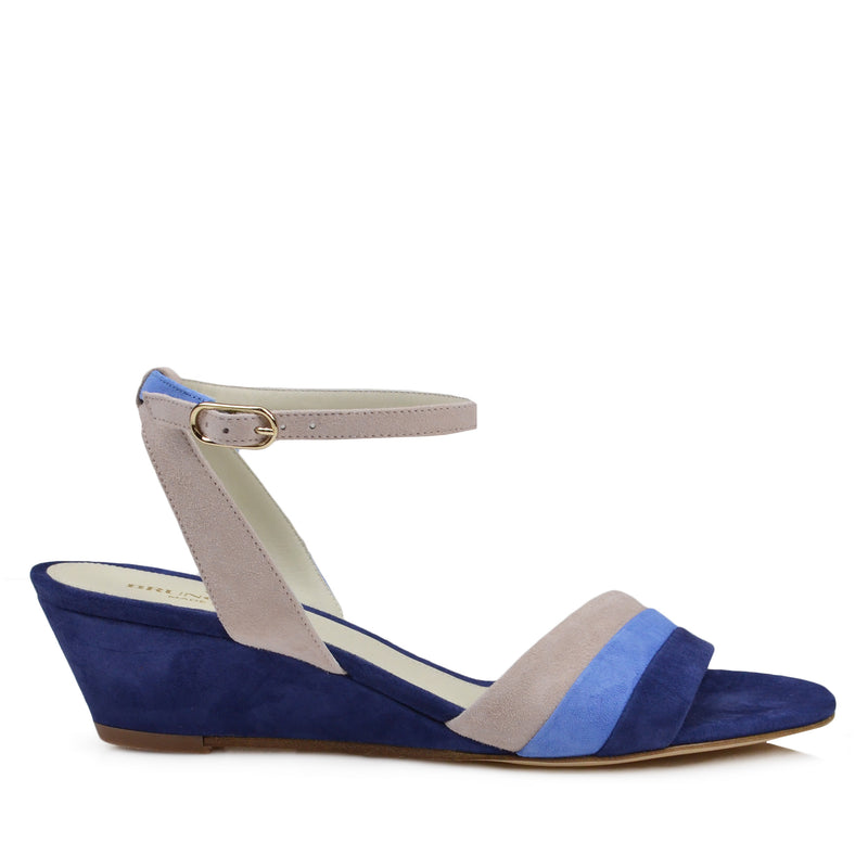 Ceci Suede Wedge Sandal - Blue Combo