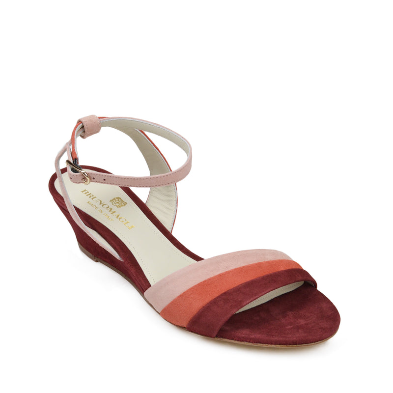 Ceci Suede Wedge Sandal - Rust Combo