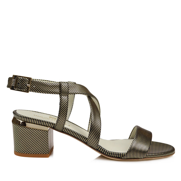 Duna Block Heel Sandal - Black Stripe - FINAL SALE