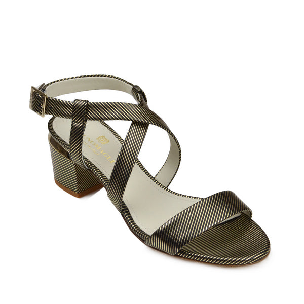 Duna Block Heel Sandal - Black Stripe