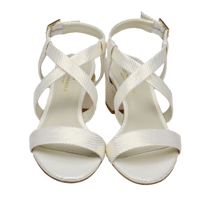 Duna Block Heel Sandal - White Stripe - FINAL SALE
