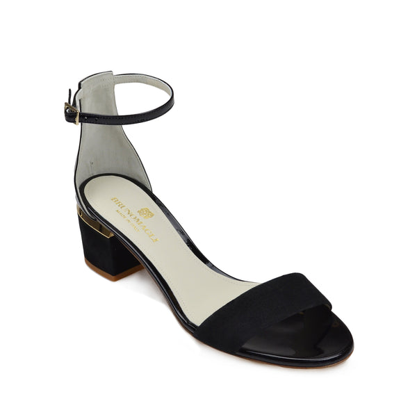 Dora Suede and Patent Sandal - Black - FINAL SALE