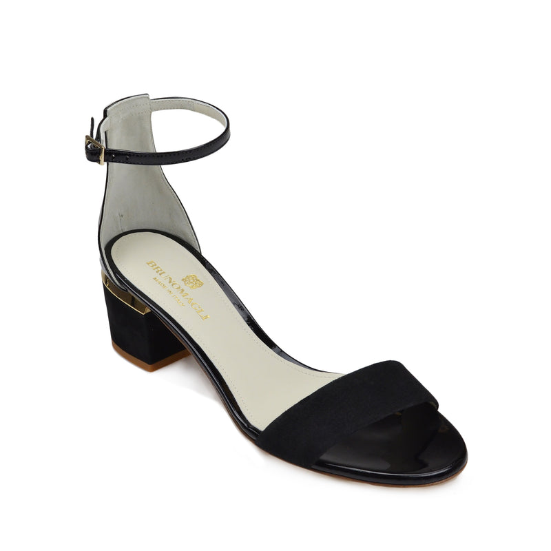 Dora Suede and Patent Sandal - Black
