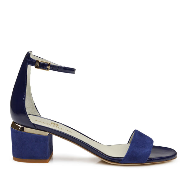 Dora Suede and Patent Sandal - Blue