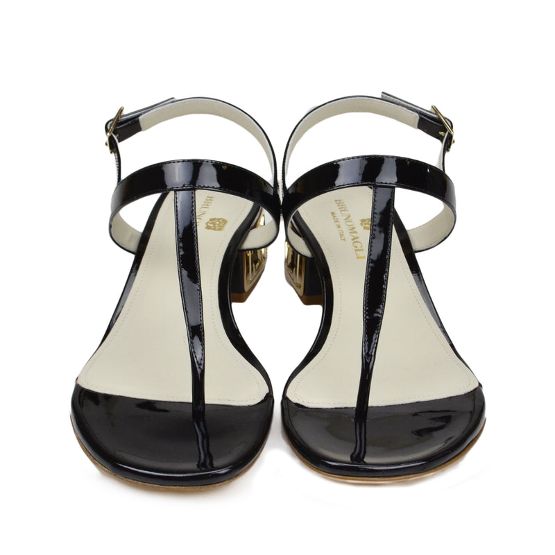 Venice Patent Leather Sandal - Black - FINAL SALE