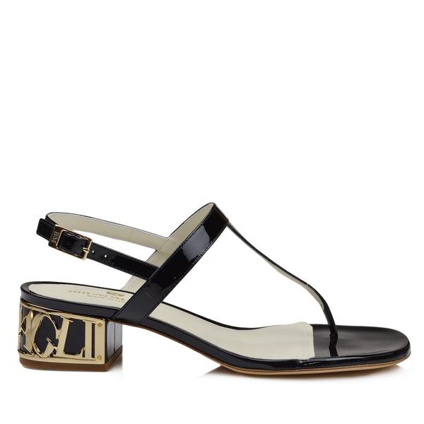 Venice Patent Leather Sandal - Black