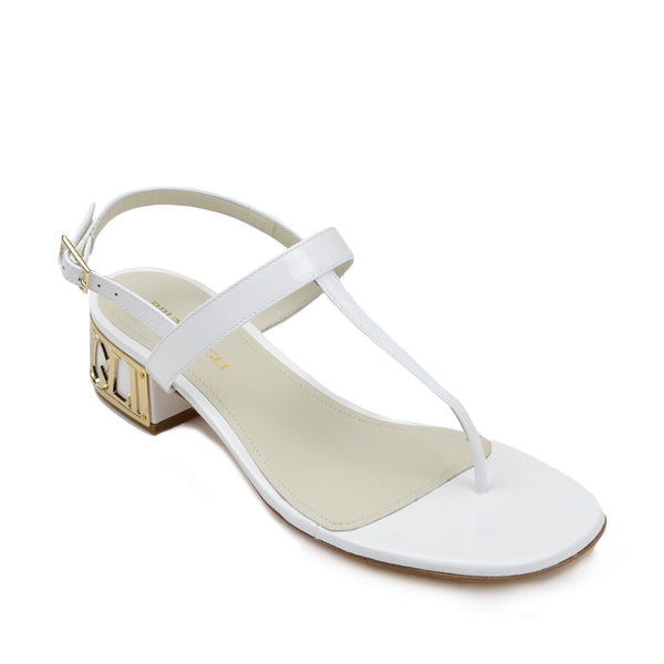 Venice Patent Leather Sandal - White - FINAL SALE