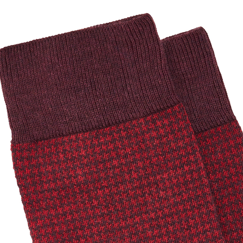 Men's Bombay Houndstooth Dress Socks - Bordeaux/Red