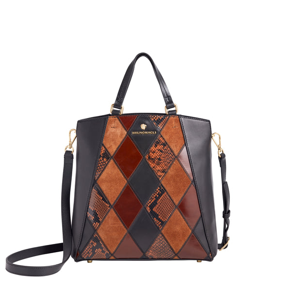 Damiana Small Tote - Black/Tan/Caramel Leather/Suede