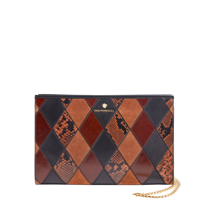 Penelope Clutch - Black/Tan/Caramel Leather/Suede