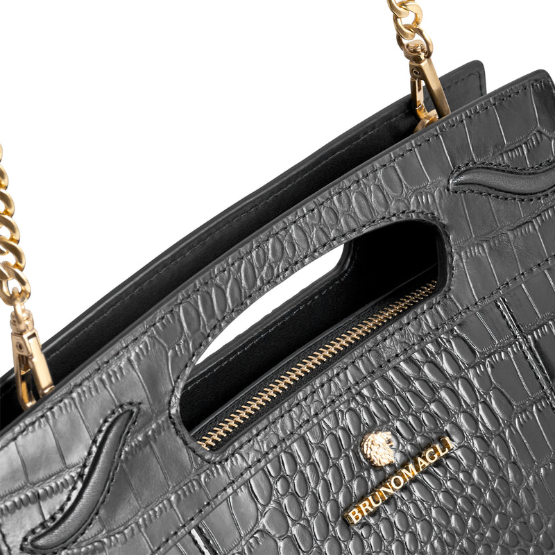 Carrinna Satchel - Black Crocodile-Print Leather