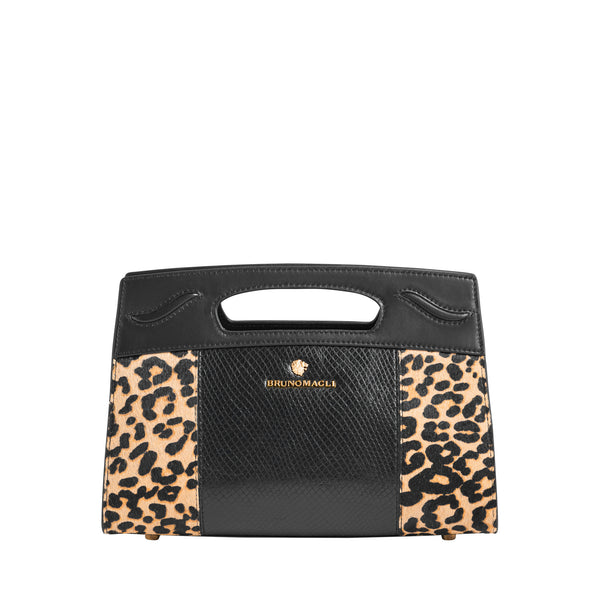 Carrinna Satchel - Black/Leopard Leather/Calf Hair/Suede