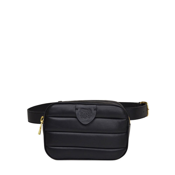 Leather Puffer Belt Bag  - Black - Online Exclusive - FINAL SALE