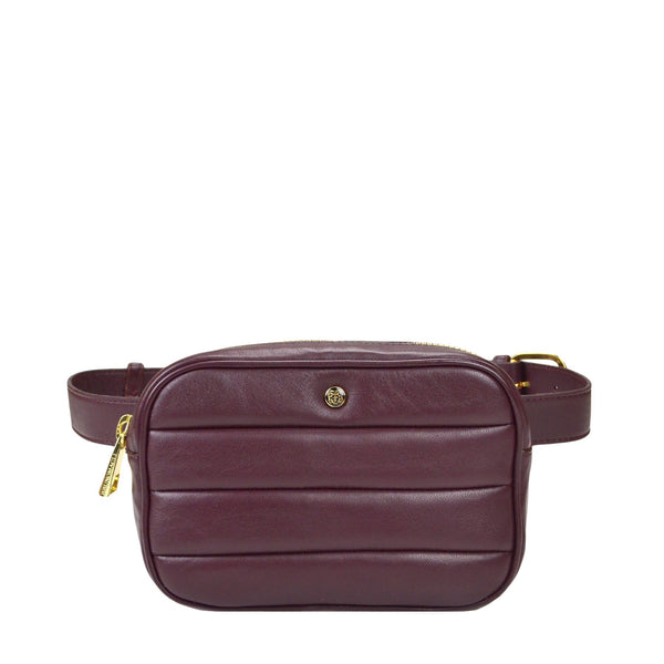 Leather Puffer Belt Bag - Burgundy - FINAL SALE