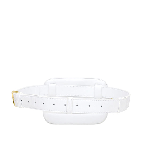 Leather Puffer Belt Bag  - White - Online Exclusive - FINAL SALE
