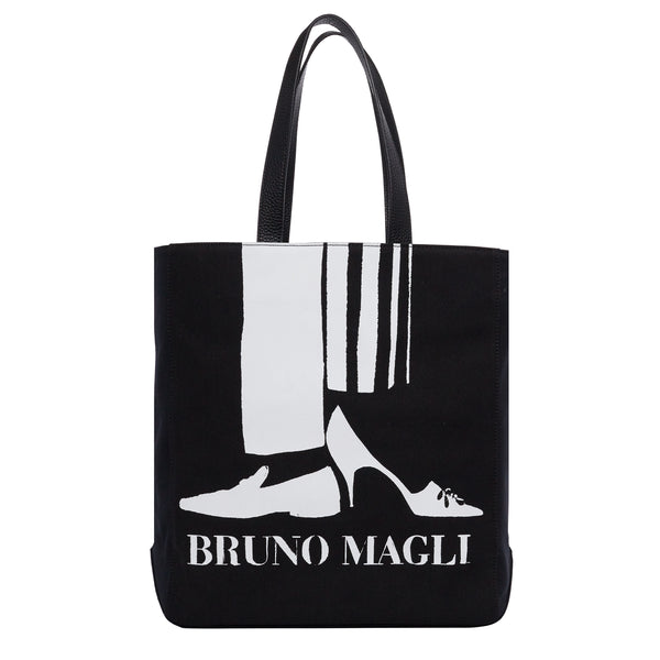 Bruno Magli Canvas Tote with Leather Strap - Black/White