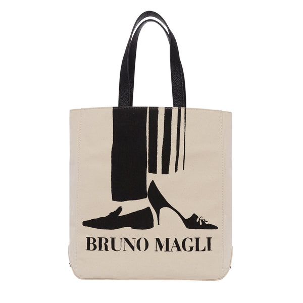 Bruno Magli Canvas Tote with Leather Strap - Natural/Black
