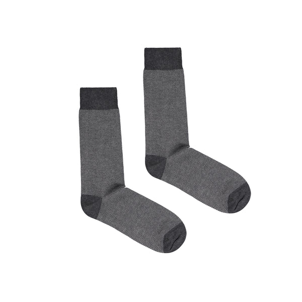 Men's Brick Jacquard Cotton Men's Dress Socks - Dark Grey/Light Grey