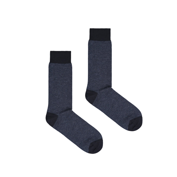 Men's Brick Jacquard Cotton Men's Dress Socks - Blue