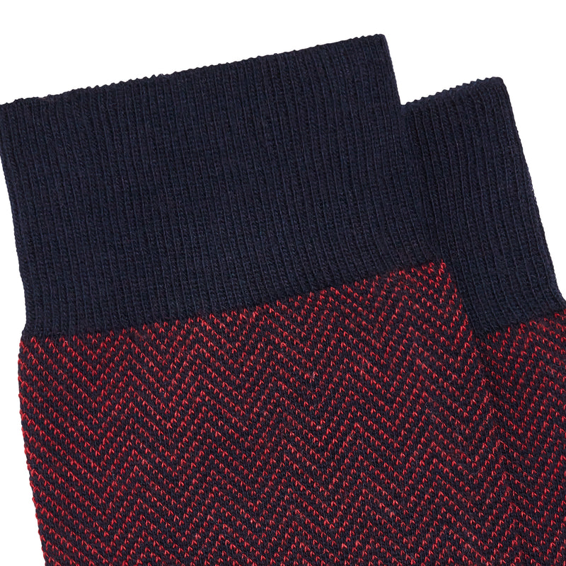 Men's Brick Jacquard Cotton Men's Dress Socks - Blue/Red