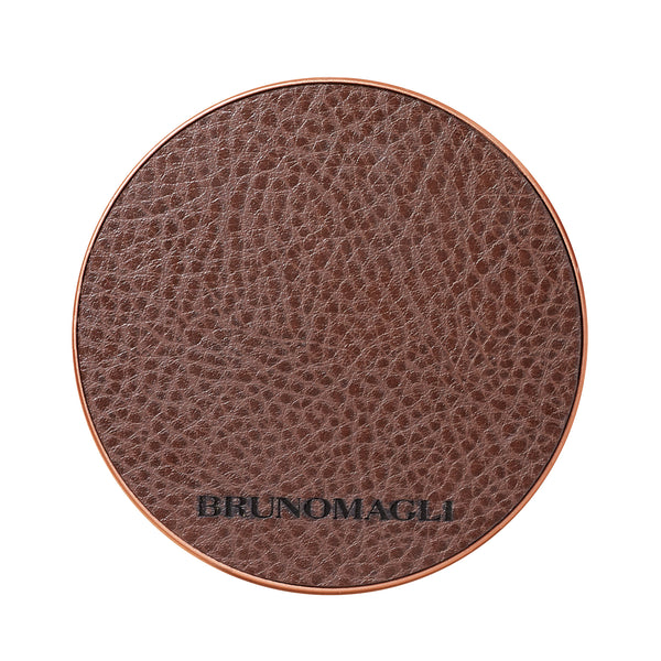 Leather Wireless Charging Pad - Brown
