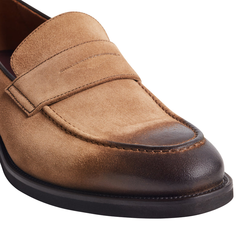 Bryan Burnished-Toe Loafer - Taupe