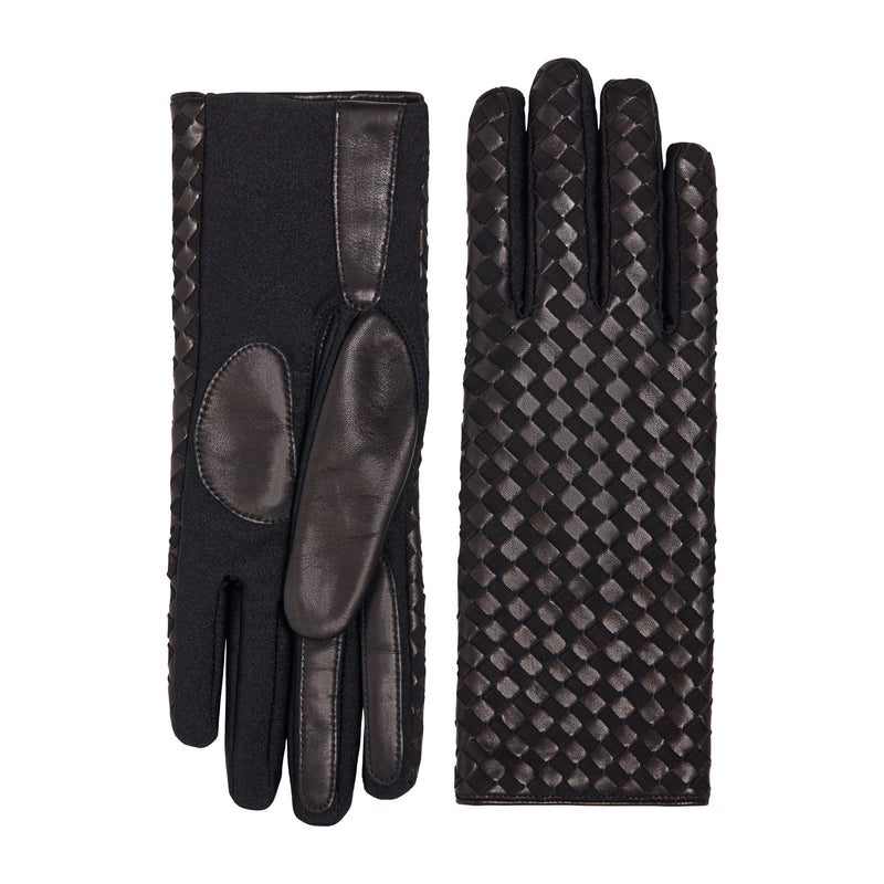 Leora Women's Leather and Cashmere Gloves - Black/Black