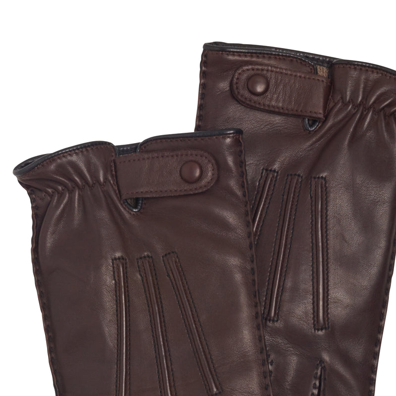 Celso Men's Leather and Cashmere Gloves - Chestnut/Black
