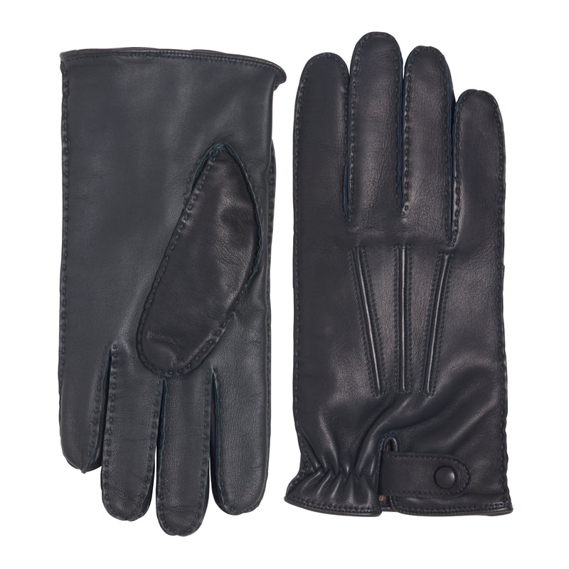 Celso Men's Leather and Cashmere Gloves - Denim/Charcoal