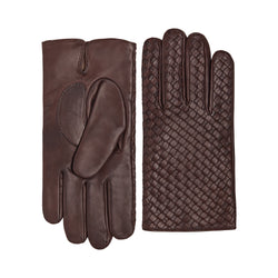 Massimo Men's Leather and Cashmere Gloves - Ebano Brown