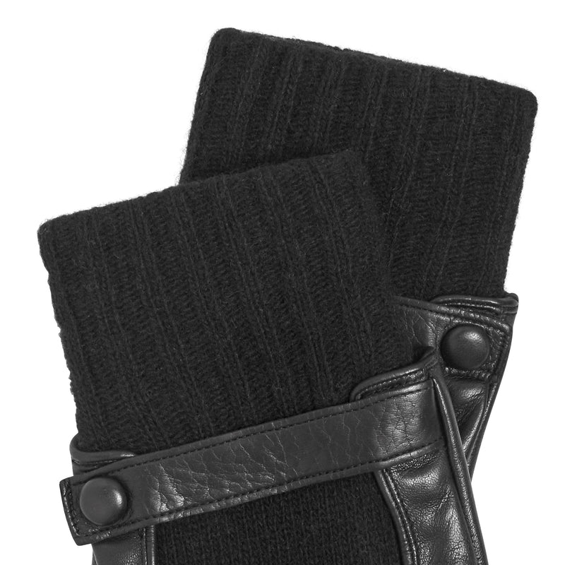 Luigi Men's Leather and Cashmere Gloves - Black
