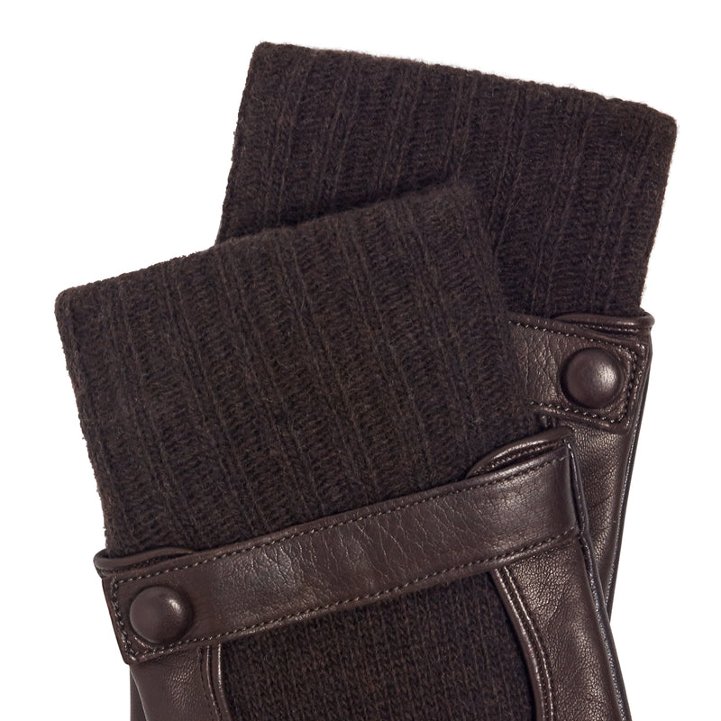 Luigi Men's Leather and Cashmere Gloves - Dark Brown/Brown