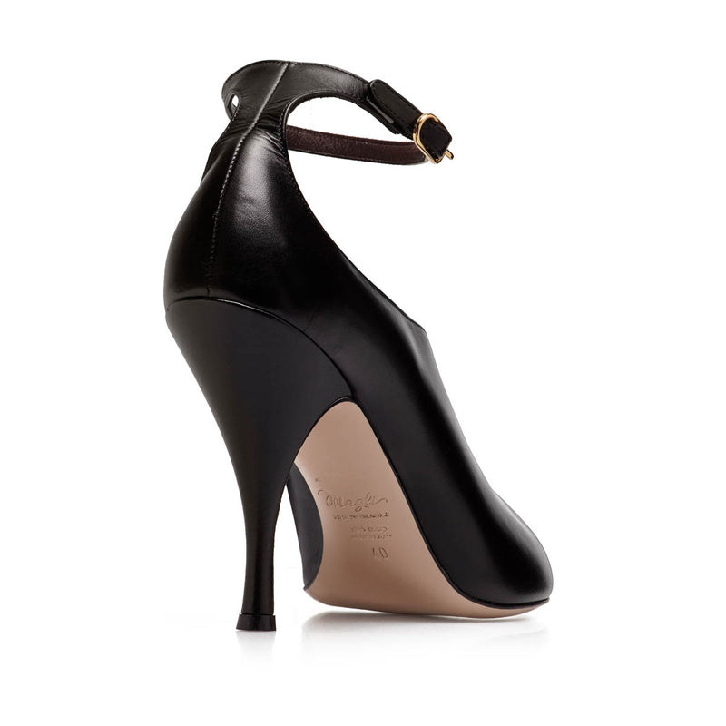 Cali Peep-Toe Pump, 3.5-Inch - Black Leather