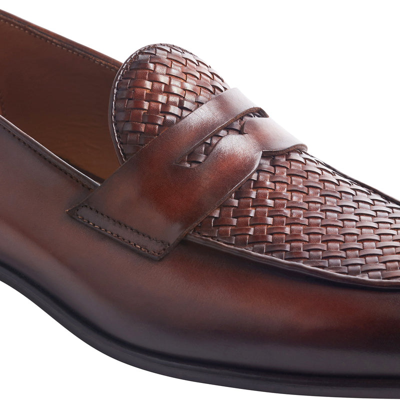 Cardosa Woven Leather Loafer - Cognac