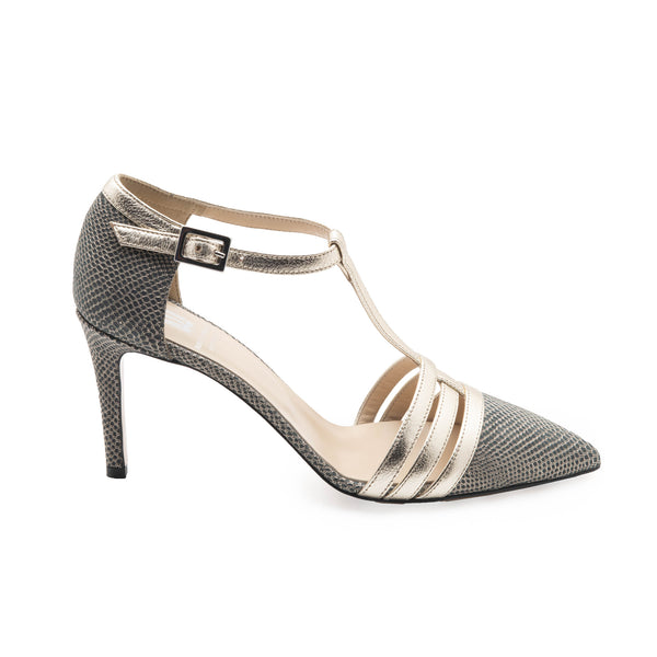 Cassia Women's Pump - Black Lizard/Gold