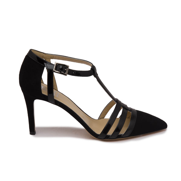 Cassia Women's Pump - Black Suede/Patent