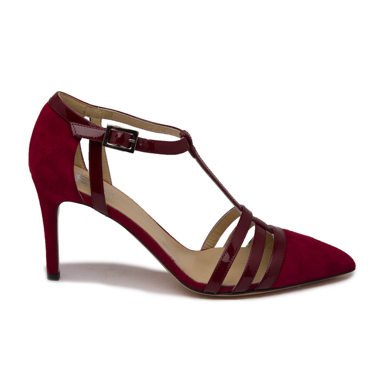 Cassia Women's Pump - Dark Red Suede/Patent