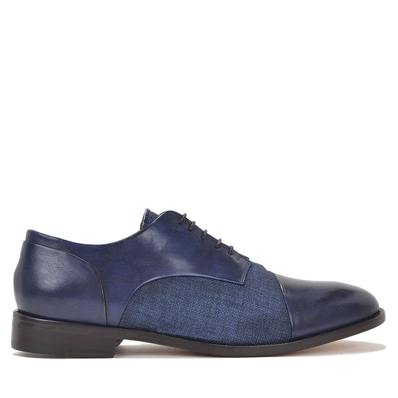 Cesere Linen/Leather Lace-up - Navy Leather/Linen