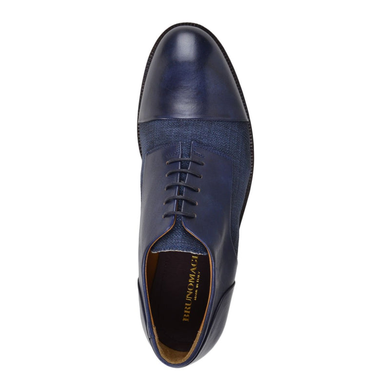 Cesere Linen/Leather Lace-up - Navy Leather/Linen - FINAL SALE